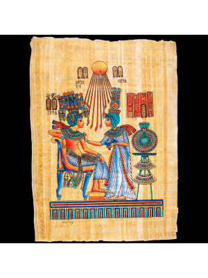 Handmade Genuine Egyptian Papyrus, painted with Gouache Colors, King Tut Papyrus