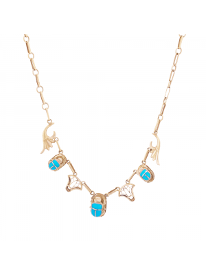 18K Gold Handmade Scarab Pendant Necklace inlaid with Turquoise Stone, Turquoise Gold Necklace
