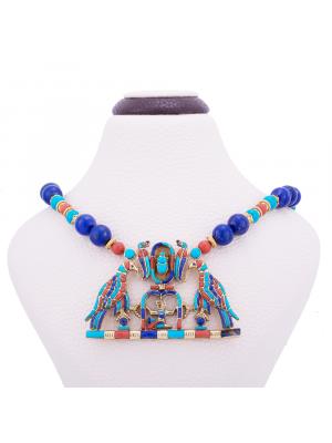 Protective Horus real gold gemstone necklace, Handmade Gemstone Necklace