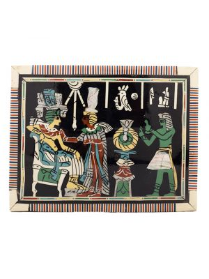 Pharaonic ornamented  wooden box handcrafted with natural precious materials (King Tut and his wife)