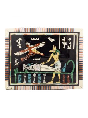 Front Image, Anubis Scene Wooden jewelry box with laid and lock, inlaid with mother of pearls, antique wooden box with laid