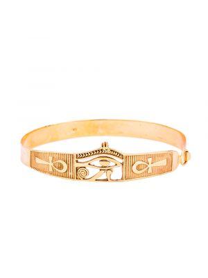 18K Gold handmade cuff of Horus Eye adorned with the wisdom Key of Life, Egyptian Eye Bracelet