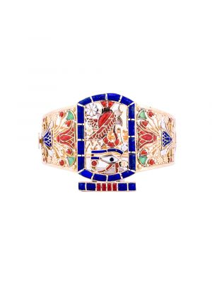 Gold precious stones inlaid bracelet Pharaonic symbols designed, Gold Bangle