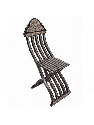 Arabesque chair, black painted inlaid with mother of pearls, easy folded, Arabesque Chair, Side image