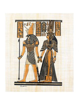 Egyptian handmade Papyrus portrait of goddess Maat and Horus