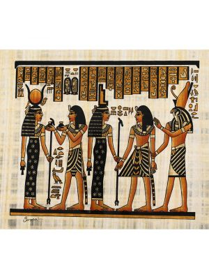Egyptain papyrus portrait of King Ramsess the Great  in an offering scene to Goddess Isis and Godess Hathor gusided by Houres