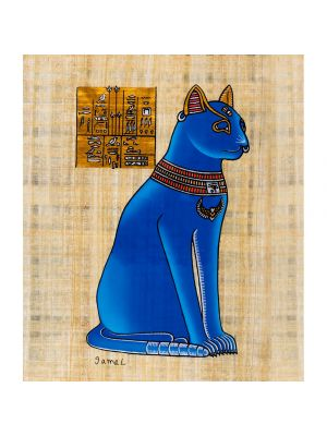 Egyptian papyrus portraits of Goddess Bastet (Blue)