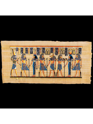 King Ramesses II Offerings Scene, Hand-painted with Gouache Colors, Egyptian Papyrus Paintings for sale