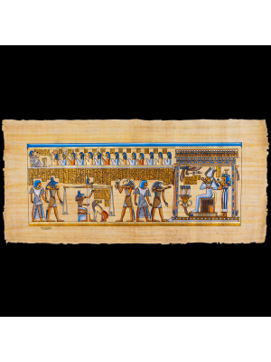 Rare Royal Papyrus Portrait of the judgment scene at the court of Osiris.