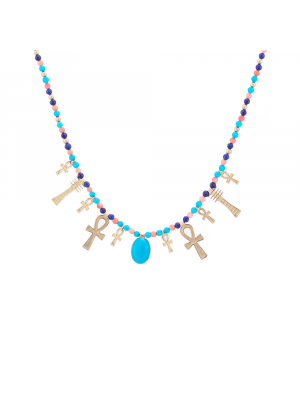 Semi-precious Stones Necklace, handmde of 18K Gold, designed as the Egyptian key of Life, Turquoise Pendant Necklace
