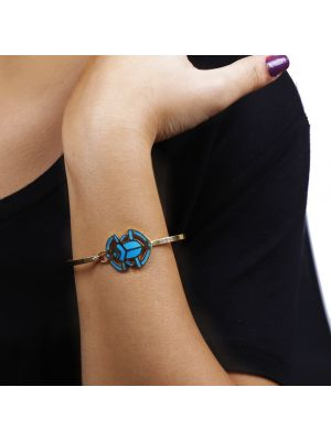 Ancient Egyptian Scarab Bracelet Handmade and Inlaid with Semi-precious Turquoise stone, Gold Scarab Bracelet