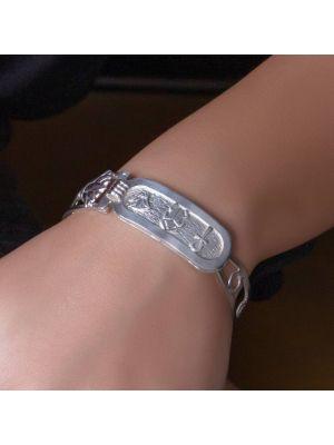 Sterling silver handmade bracelet adorned with Ancient Egyotian symbols, Silver Lotus Bracelet