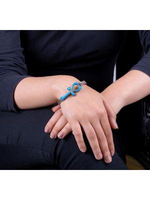 Silver Semi-Precious Turquoise Inlaid Ankh Bracelet, Ankh Cuff Bracelet