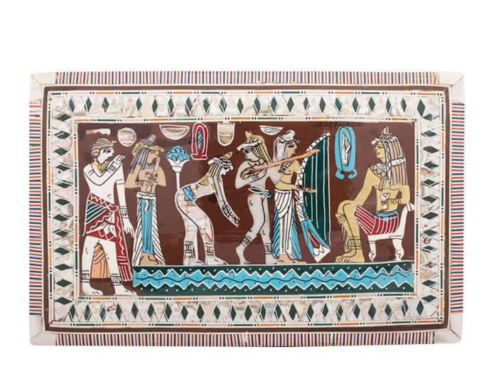 Egyptian Jewelry Box , handmade and inlaid with mother-of-pearl, designed in ancient Egyptian dancing scene, Front image