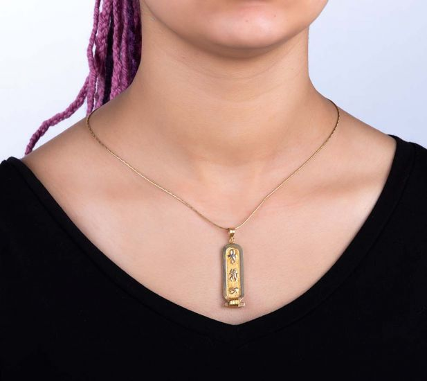 Customizable Hieroglyphs 18k Gold Cartouche Pendant with Free Shipping (1.5 x 0.8 inches)