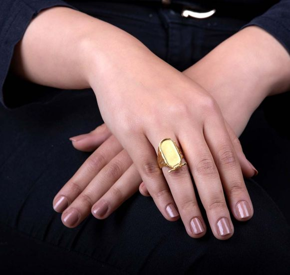 Customizable 18k Gold Royal Egyptian Cartouche Ring Handmade of 18K Gold with Free Shipping
