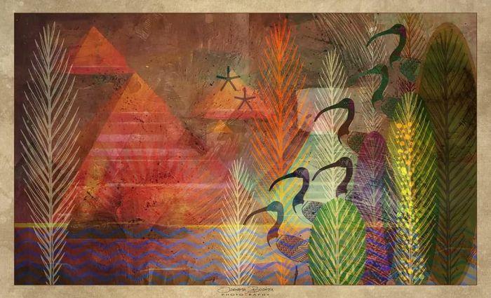 "Idyllic Sunset at Great Pyramids Mixed Media Artwork 28"" x 47"" Canvas Print"