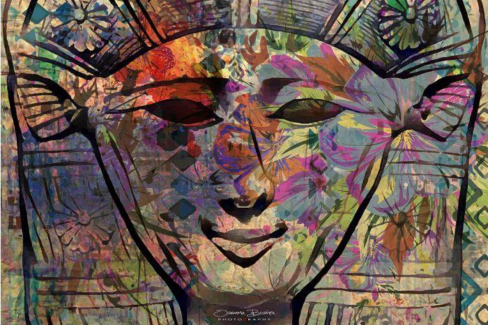 Warm and Vibrant Goddess Hathor Mixed Media Print on Large Canvas