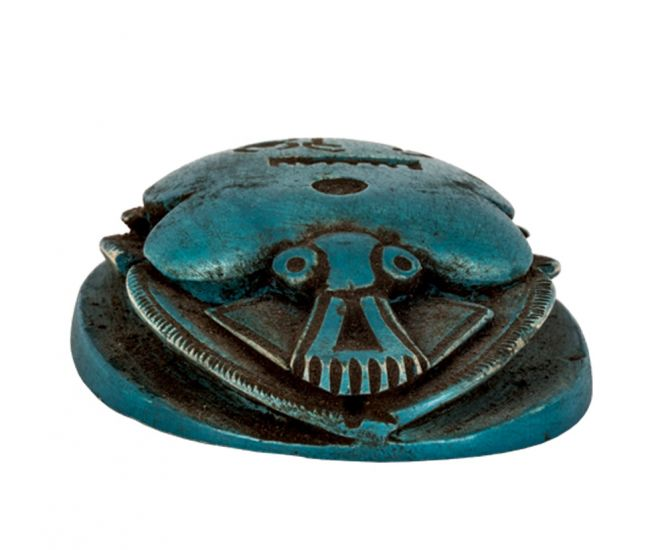 Blue painted scarab handcrafted by talented Egyptian artisans, scarab sculpture 20