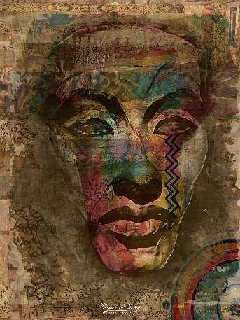 Akhenaten Portrait | King Akhenaten | Mixed Media Art
