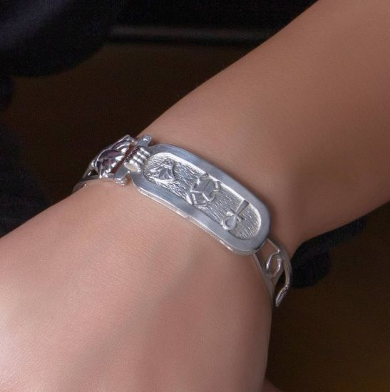Sterling silver handmade lotus flower bracelet, adorned with Ancient Egyptian Symbols, customized as your size