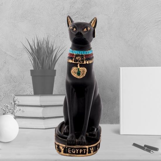 Vintage Ancient Egyptian Cat Goddess Bastet Statue (9 H x 4.5 W inches)