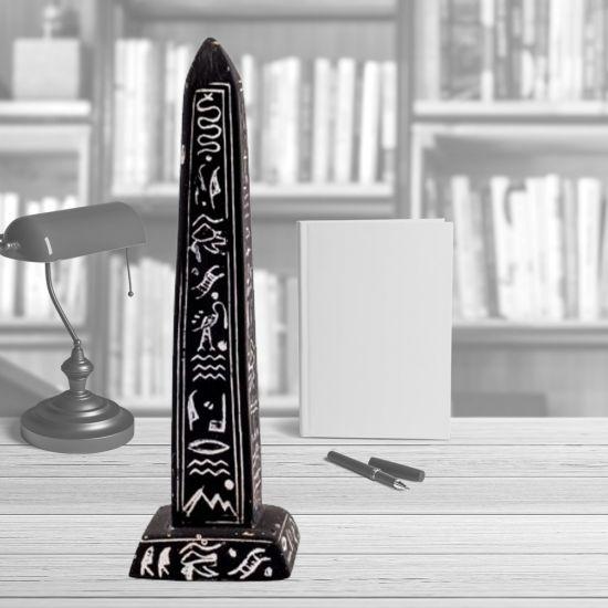 Black Alabaster Handmade Obelisk for Sale Adorned with Hieroglyphics (6.5 H, 2 W inches)