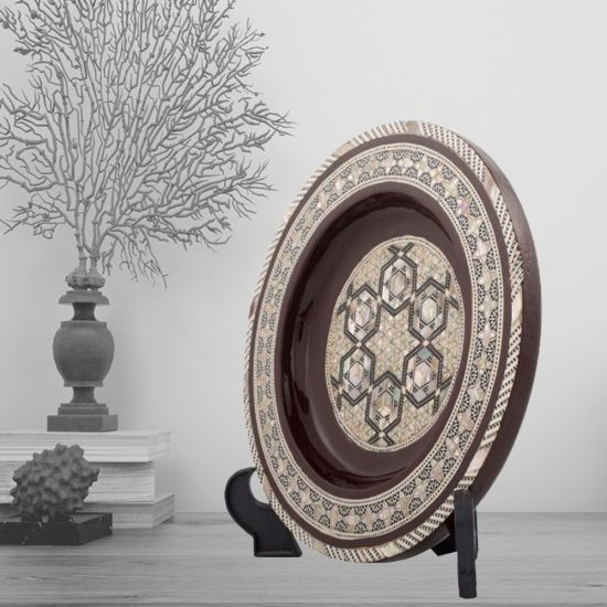 Decorative Plate for Hanging, brown paint plate with hand-inlaid of mother of pearls, Mother of Pearl Plate
