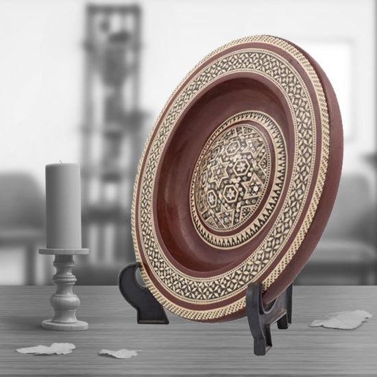 Hanging Mother of pearl plates | Wood Decorative Plate | Swan Bazaar