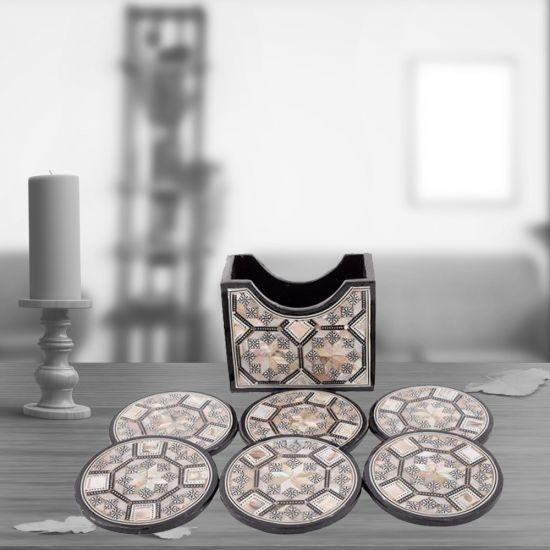 Wood Cup Coaster | Arabesque Cup Coasters | Swan Bazaar
