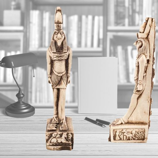 Horus God of Sky Falcon Wearing Double Crown, Hand-Carved White Stone (9.5 H, 3 W inches)