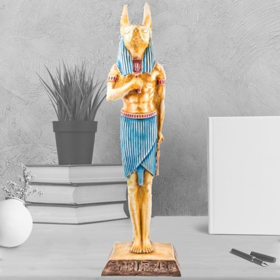 Large Egyptian God Anubis with Jackal-Head Figurine, Handmade of Alabaster Stone (21 H, 6 W inches)