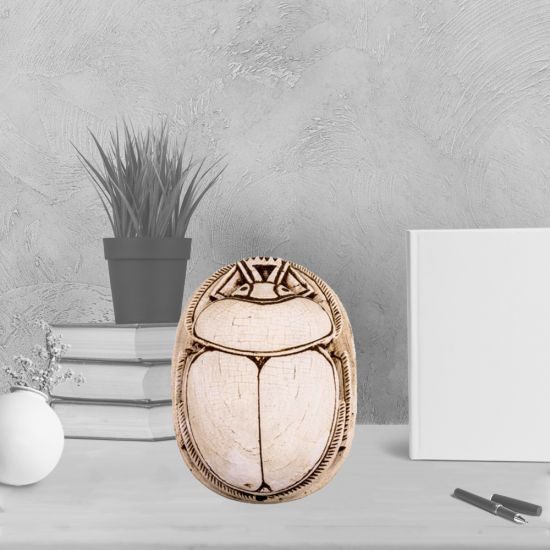 Scarab Beetle Handmade of White Alabaster with Egyptian Amulet Ornaments (3.5 H, 2.5 W, 1 L inch)