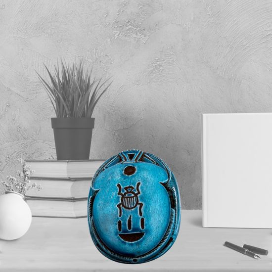 Turquoise Alabaster Scarab Handmade by Talented Small Egyptian Families in Luxor (3 H, 2 W, 1 L inch)