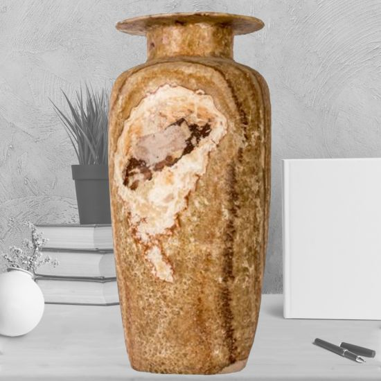 Handmade Warm Amber Marble Alabaster Vase in Size Medium (19.5 H, 6.5 W, 8 L inches)