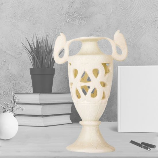 Finely-Carved Elaborate Vase Handmade of White Alabaster (15 H, 11 W, 7.5 L inches)