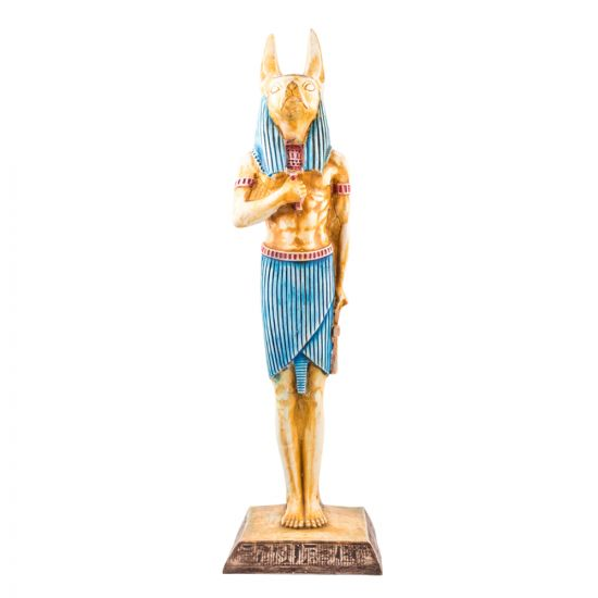 Colorful Alabaster handmade Anubis God Statue, Egyptian Dog Statue
