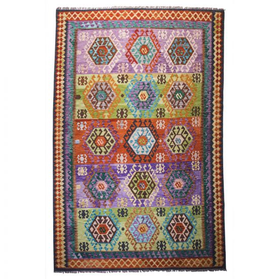 Bright colorful Oriental antique rug is hand-knotted of natural wool material, sized in 4x6 feet