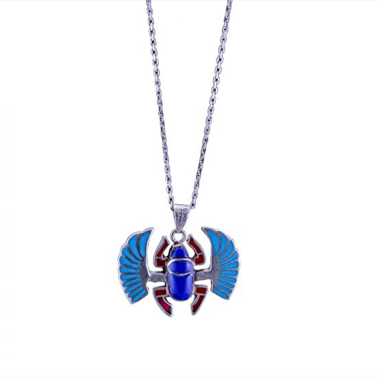 Silver sterling Necklace with a pendant of the Egyptian Winged Scarab hand-adorned with Semi-precious stones of Blue Lips, Coral and Red Coral