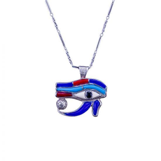 Sterling Silver Handmade wedjat Eye of Horus Necklace, Egyptian God Eye