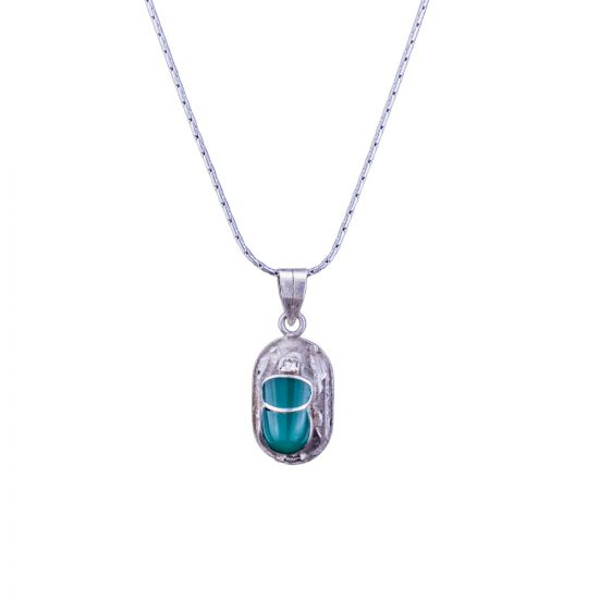 Emerald Scarab Pendant With Chain | Scarab Necklace