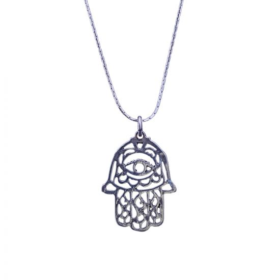 Hamsa Necklace, handmade of sterling silver