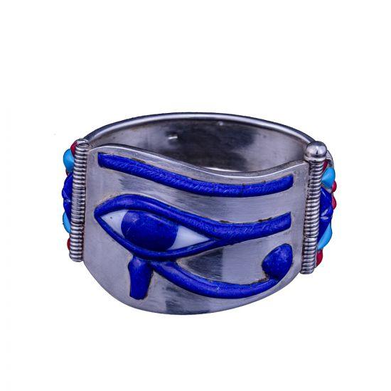 Silver semi-precious stone inlaid Wedjat eye of Horus Cuff Bracelet, Eye of Horus Bracelet
