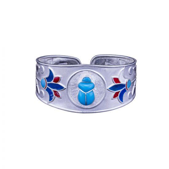 Sterling silver scarab Bracelet, Egyptian Scarab Bracelet