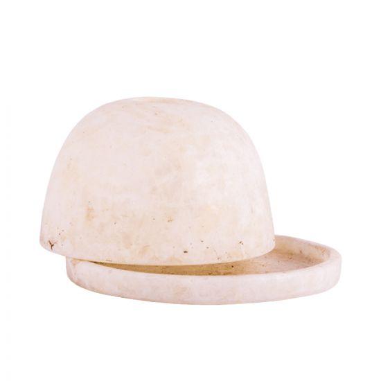 Oval shaped alabaster candle holder