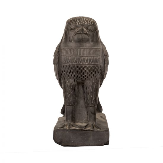 Front Image of the falcon Statue handmade of grey basalt stones, The Falcon Statues For Sale