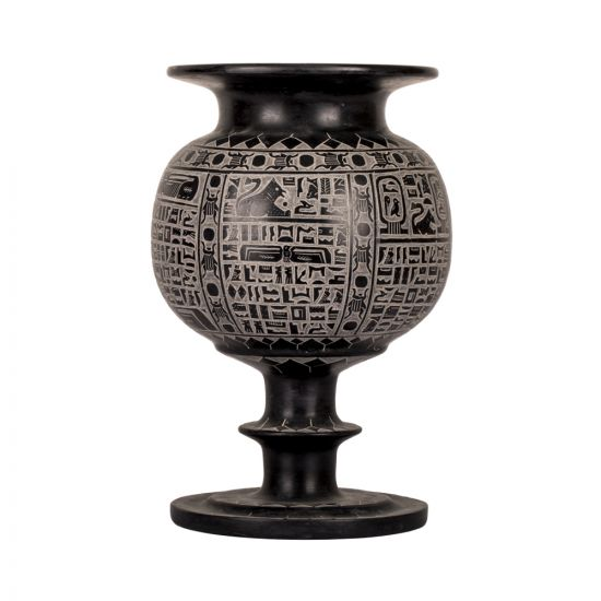 Black Basalt Vase Ornamented with ancient Egyptian Vase, Egyptian Basalt Vase