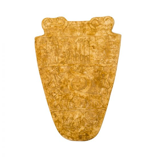 Hand-curved Palette of Narmer for Sale of Yellow Marble Limstone, Front image, Palette Of Narmer For Sale