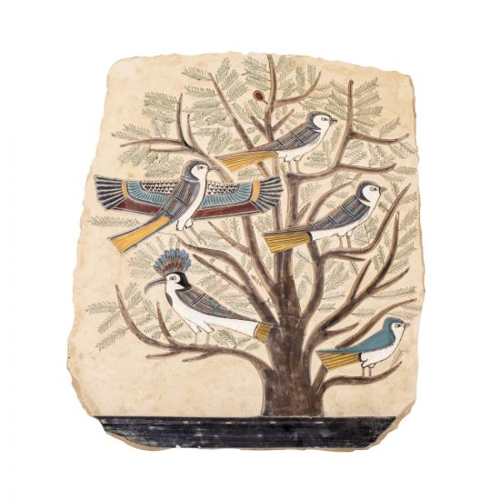 Egyptian Tree of Life Portrait handpainted on Limestone with vivid colors depicting the five birds presenting the different stages of the human life