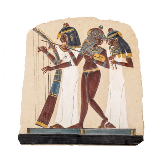 Egyptian Art Work of the Three Female Musicians handmade of limestones, Front Image